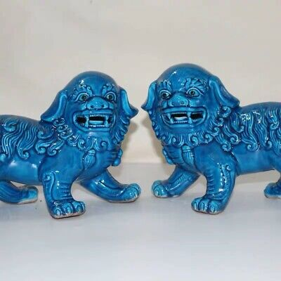Chinoiserie  Blue Pair of Chinese porcelain  guardian lions