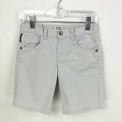 Armani Junior Jeans Shorts Gray Boys Size 7 124 Zip Front Adjustable Waist