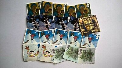 20 Unfranked Second Class Christmas Stamps (Off Paper - No Gum)