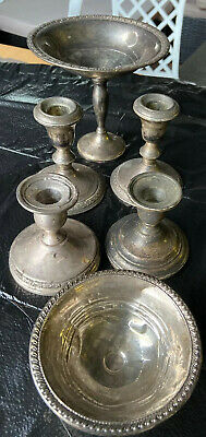 LOT of 6 PCS WEIGHTED STERLING SILVER COMPOTE / CANDLE HOLDER 3 LBS