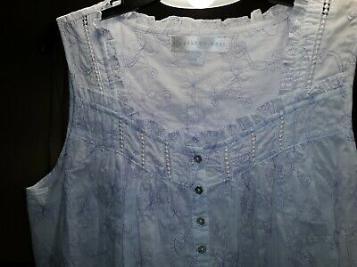 Eileen West Short Lilac Floral Embroidered Cotton Lawn Chemise  M or XL $68 MSRP
