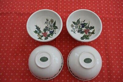 """Four  PORTMEIRION THE HOLLY AND THE IVY  deep pudding bowls 5.5"""" diam 3"""" tall"""