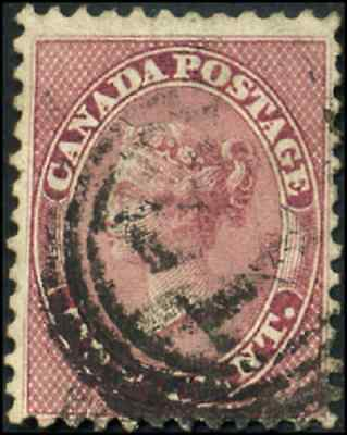Canada #14 used F 1859 First Cents 1c rose Queen Victoria 4-ring '21' Quebec,LC