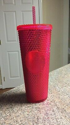 New Never Used 2019 Starbucks Iridescent Cold Cup Neon Pink Textured 24oz