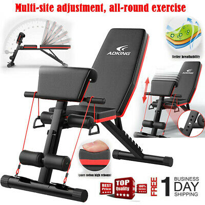 180^Adjustable Folding Sit Up AB Incline Abs Bench Flat Fly Weight Workout