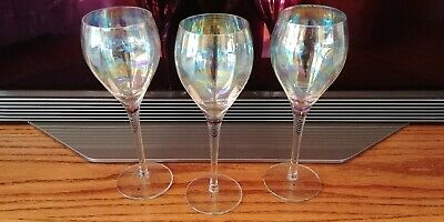 Toscany Wine Glasses Crystal Opalescent Hand Blown Romania 8.5 Tall Set of 3