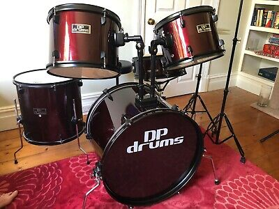 5 Piece Drum Kit Full Size Complete Set Cymbals Stool Wine Red DP Drums (+stool)