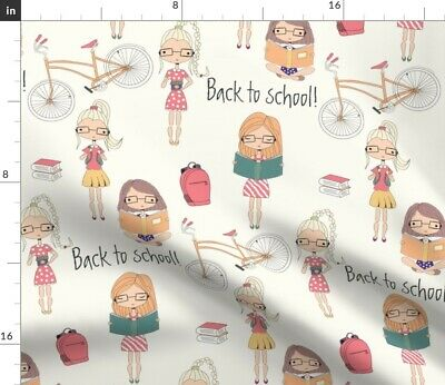 School Girls Back To Doll Cute Kids Children'S Fabric Printed by Spoonflower BTY