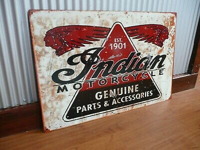 Indian Motorcycles sign Parts And Accessories Metal Mancave bar Garage Bike