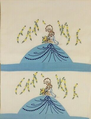 Pair Vintage Linen Hand Embroidered Crinoline Lady Pillowcases