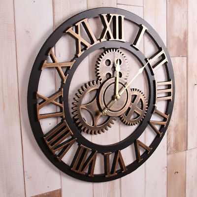 Large Outdoor Garden Home Wall Clock Roman Numerals Giant Open Face Metal Round