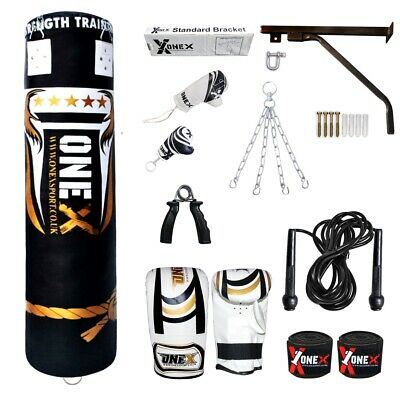 13 Piece Heavy Filled 5ft Boxing Punch Bag Set Gloves Bracket Chains MMA Pad