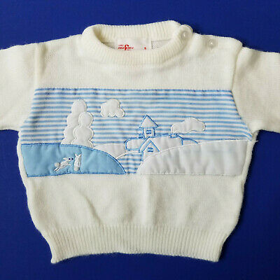 Vintage Baby Boy Sweater Size 18 Mos-2T Pastoral Scene Embroidery Bunnies Farm