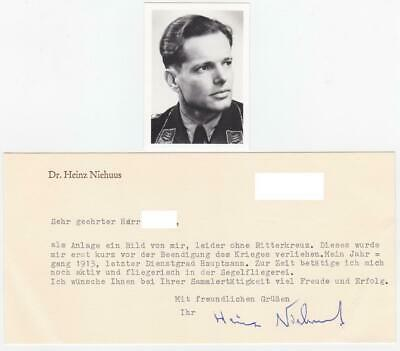Signed Photo + Letter of Knight's Cross Stuka Ace Heinz Niehuus KC VERY RARE
