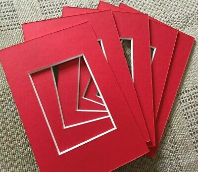 "5 Red Picture Frame Mounts 6X4 Inch Overall For 3.5 "" X 2.5"" Photograph Print"