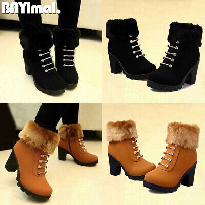 Womens Chunky Mid Heel Zipper Ankle Boots Ladies Winter Casual Fur Booties Shoes