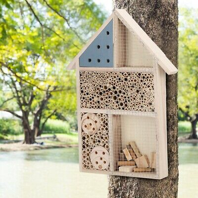 Wooden Insect Bee House Natural Wood Bug Hotel Shelter Garden Nest Feeding Box