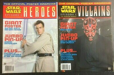 STAR WARS Episode 1 - VILLAINS & HEROES - 2 Official Giant Poster Magazines