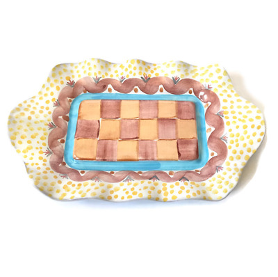 MacKenzie Childs Butter Dish Taylor House Ripple Plate Rectangle Check Pattern