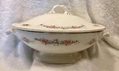 """Vtg Homer Laughlin Georgian 11"""" Covered Dish Roses Small Chip Under Footed Rim"""
