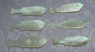 6 Antique Chinese Etched Mother Of Pearl Fish Shaped Gaming Tokens Counters