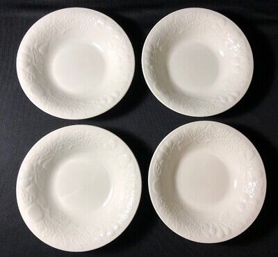 Set Of 4 Gibson Raised Fruit *White* Rimmed Soup Cereal Coupe Bowl 8""