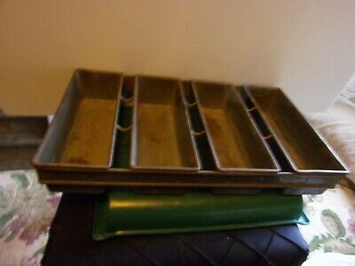 """Ekco Fo D Welded Commercial 4 Loaf Bread Pan Size 19.5 By 11.5 By 3"""" Vintage"""