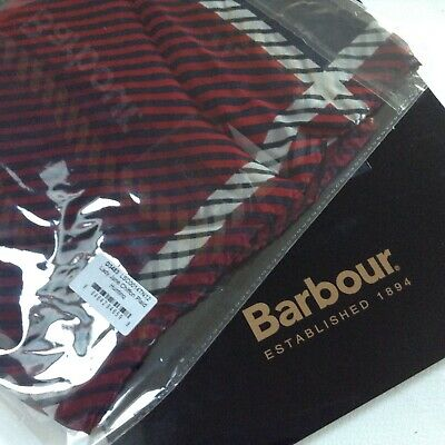 BARBOUR Long Scarf Lady Jane Hunting Plaid Navy 100% Silk BNWT in Pack