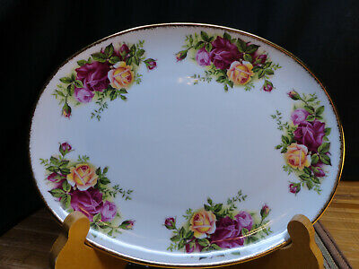 """ROYAL ALBERT OLD COUNTRY ROSES Oval Tray, 8 1/2"""" x 6 1/2"""", Gold Edge"""