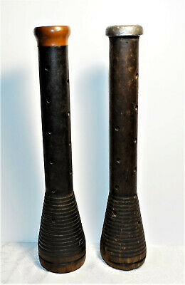 """Antique Wood Textile Spools Beehive Spindles Industrial Bobbins 12"""" Lot of 2"""