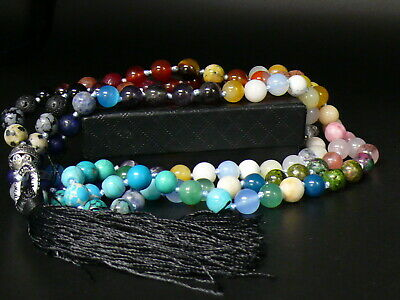 (eB5614) Tibet: Mala Prayer  108  Stone Beads 7 Chakra Mala Rainbow Necklace