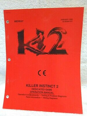 Midway Games Killer Instinct 2 Video Game Operation Full Manual 1996 Excellent