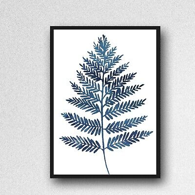 fern leafs leaves print PICTURE blue WALL ART A4 Botanical plant UNFRAMED 299