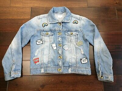 NEXT Girls Denim Jacket Badges Patches Age 8 Years Blue Distressed VGC