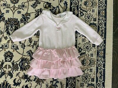 Tutto Piccolo Baby Girls Pink & White Velour Sailor Style Frilled Dress 12 Mths