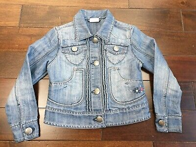 NEXT Girls Denim Jacket Embellished Embroidery Age 5 - 6  Years Blue Sequin VGC