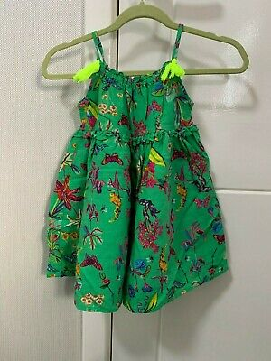 Next Green Butterfly And Tropical Leaf Printed Girls Sun Dress 12-18 Months