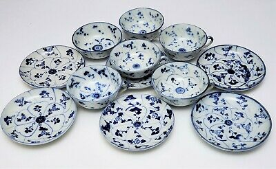 Set of 6 18th - 19th c Antique Chinese Blue & White Porcelain Cups & Saucers