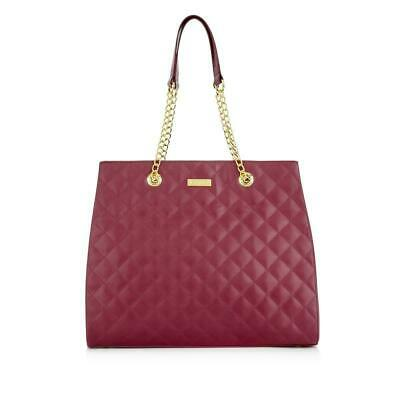 JOY & IMAN Diamond Quilted Genuine Leather Satchel with RFID Burgundy NEW W Tags