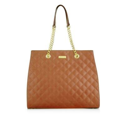 JOY & IMAN Diamond Quilted Genuine Leather Satchel with RFID Cognac NEW W Tags