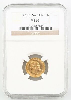 1901 EB Sweden 10 Krona Piece Graded by NGC as MS-65