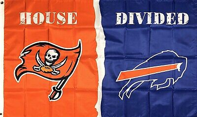 Tampa Bay Buccaneers vs Buffalo Bills House Divided Flag 3x5 ft Sports Banner