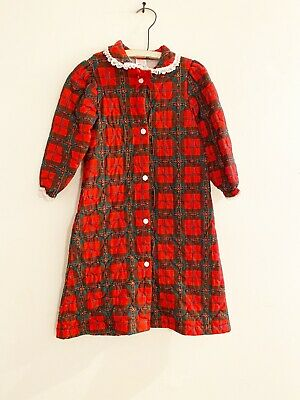 Vintage Cassie Plaid Quilted Night Robe Red Green Christmas Girls Size 6
