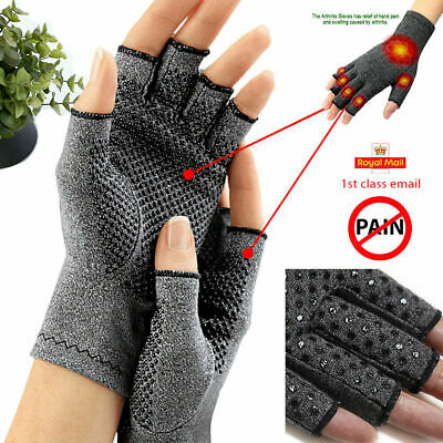 2X Compression Fingerless Gloves Anti Arthritis Finger Brace Support Pain Relief