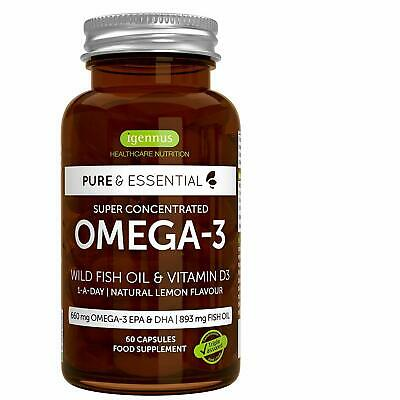 Pure Essential Omega-3 Fish Oil Vitamin D3 For High Strength EPA DHA 60 Capsules