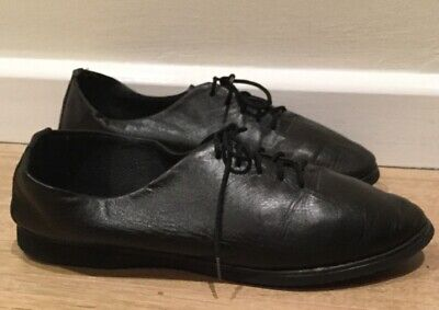 Freed of London Black Leather Jazz Shoes Size 4.5 Full Rubber Sole