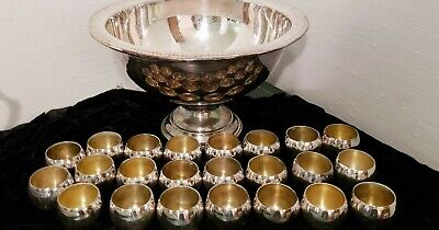 Beautiful 1883 F.B. ROGERS SILVER CO. 23 CUP PUNCH BOWL SET-Vintage Silverplate