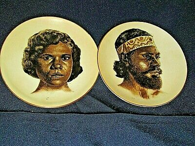 Vintage 2x. CERAMIC WALL PLATES DISHES ABORIGINAL Australian MAN & WOMAN 10CmW