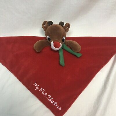 "NWT Carter/'s /""Reindeer My First Christmas/"" Plush Rattle Security Blanket"