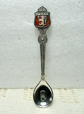 "Vintage NORGE Norway Coat of Arms Souvenir Collector Spoon from BERGEN ~ 4"" Long"